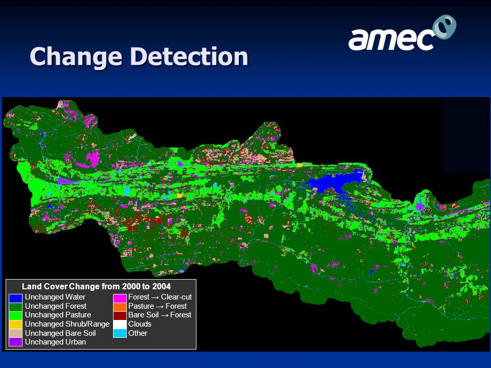 Change Detection Unchanged Water Unchanged Forest Unchanged Pasture Unchanged Shrub/Range Unchanged Bare Soil Unchanged Urban Land Cover Change from 2000 to 2004 Forest → Clear-cut Pasture → Forest Bare Soil → Forest Clouds Other