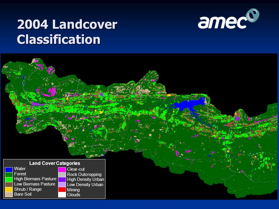 2000 Landcover Classification Water Forest High Biomass Pasture Low Biomass Pasture Shrub / Range Bare Soil Land Cover Categories Clear-cut Rock Outcropping High Density Urban Low Density Urban Mining Clouds