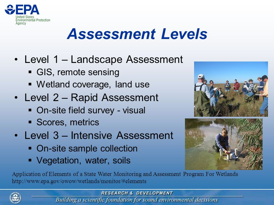 Assessment Levels Level 1 – Landscape Assessment  GIS, remote sensing  Wetland coverage, land use Level 2 – Rapid Assessment  On-site field survey - visual  Scores, metrics Level 3 – Intensive Assessment  On-site sample collection  Vegetation, water, soils Application of Elements of a State Water Monitoring and Assessment Program For Wetlands http://www.epa.gov/owow/wetlands/monitor/#elements
