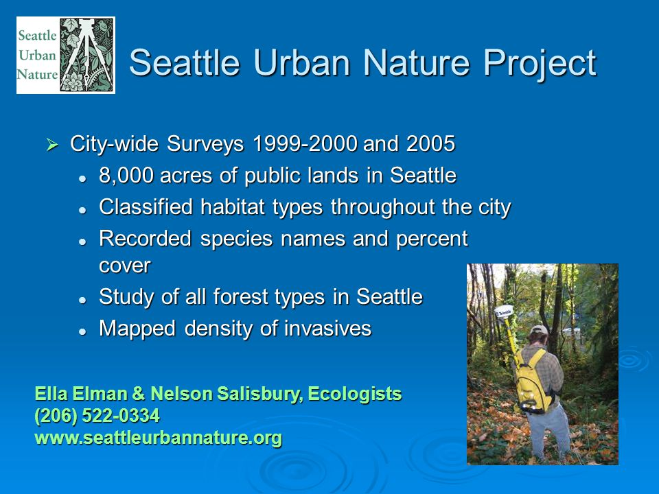 Seattle Urban Nature Project  City-wide Surveys 1999-2000 and 2005 8,000 acres of public lands in Seattle 8,000 acres of public lands in Seattle Classified habitat types throughout the city Classified habitat types throughout the city Recorded species names and percent cover Recorded species names and percent cover Study of all forest types in Seattle Study of all forest types in Seattle Mapped density of invasives Mapped density of invasives Ella Elman & Nelson Salisbury, Ecologists (206) 522-0334 www.seattleurbannature.org