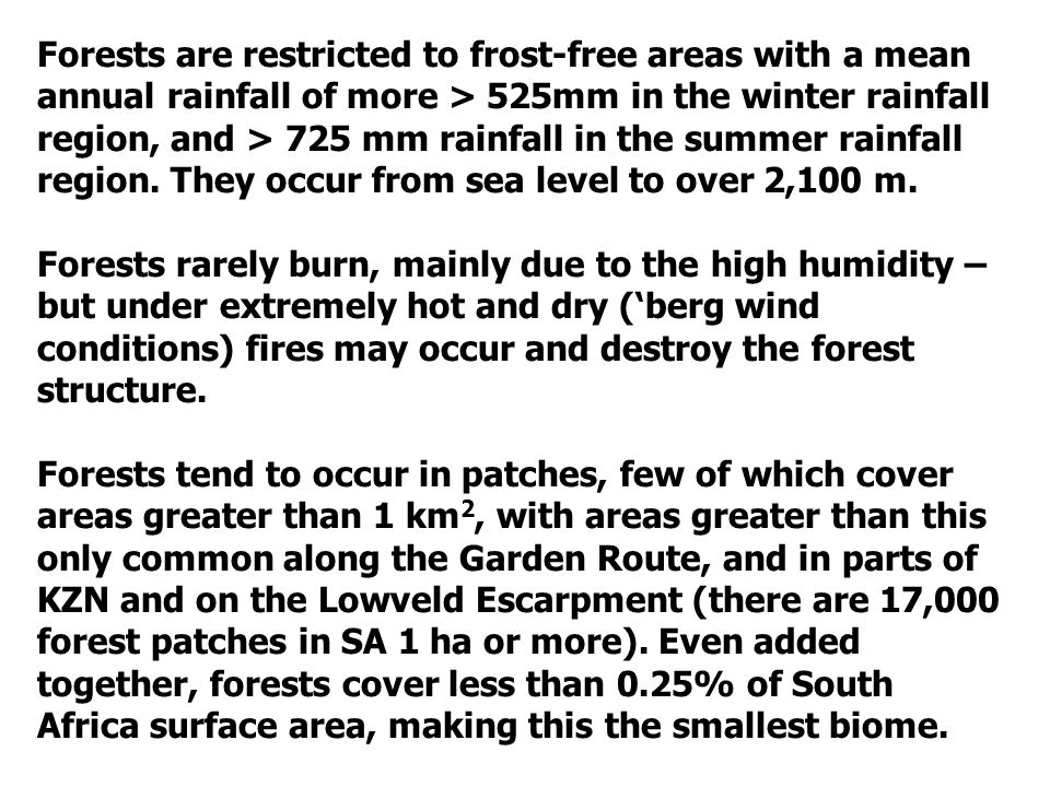 Forests are restricted to frost-free areas with a mean annual rainfall of more > 525mm in the winter rainfall region, and > 725 mm rainfall in the summer rainfall region.