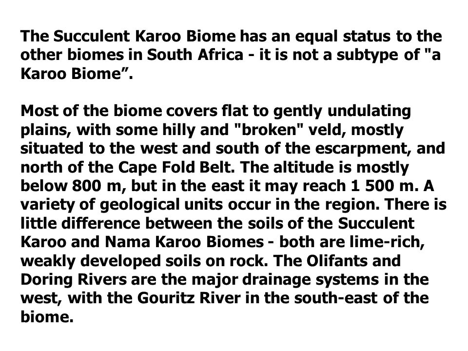 The Succulent Karoo Biome has an equal status to the other biomes in South Africa - it is not a subtype of a Karoo Biome .