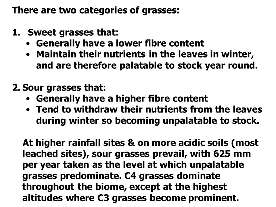 There are two categories of grasses: 1.