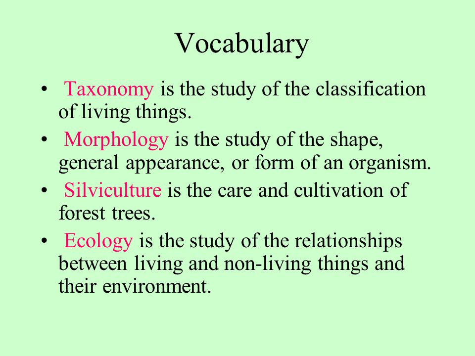 Vocabulary Taxonomy is the study of the classification of living things. Morphology is the study of the shape, general appearance, or form of an organ