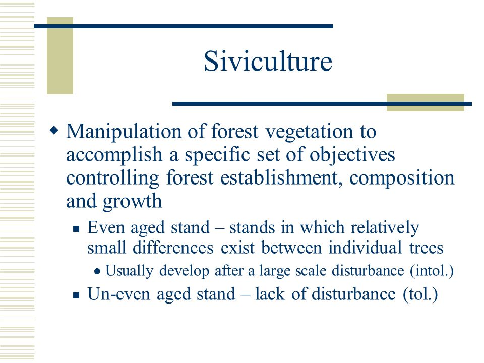 Siviculture  Manipulation of forest vegetation to accomplish a specific set of objectives controlling forest establishment, composition and growth Even aged stand – stands in which relatively small differences exist between individual trees Usually develop after a large scale disturbance (intol.) Un-even aged stand – lack of disturbance (tol.)