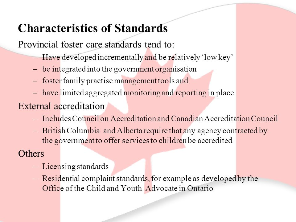 Characteristics of Standards Provincial foster care standards tend to: –Have developed incrementally and be relatively 'low key' –be integrated into the government organisation –foster family practise management tools and –have limited aggregated monitoring and reporting in place.
