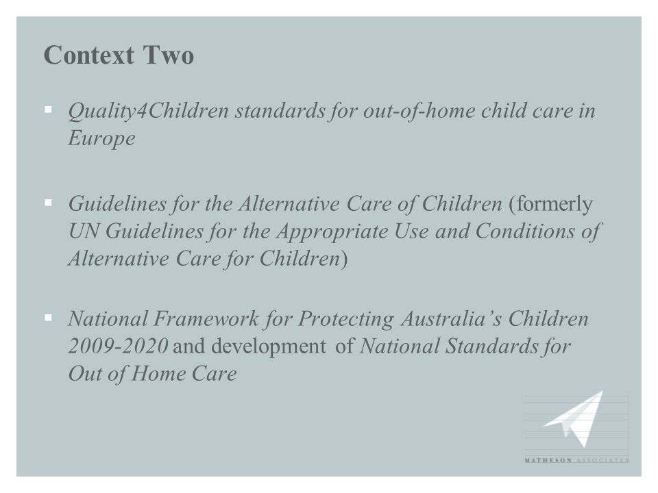 Canadian standards Standards of Excellence for Family Foster Care Services, 1995 (CWLA).