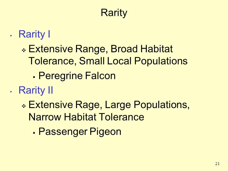 22 Rarity Rarity III  Restricted Range, Narrow Habitat Tolerance, Small Populations  California Condor