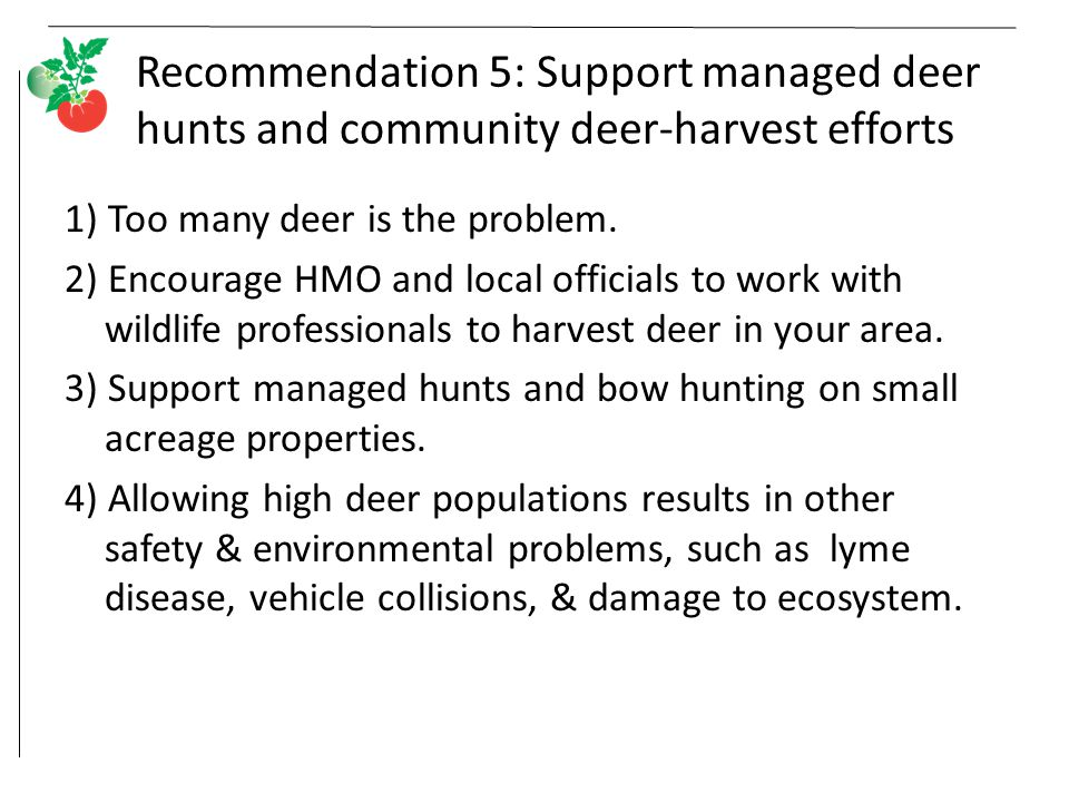 Recommendation 5: Support managed deer hunts and community deer-harvest efforts 1) Too many deer is the problem.