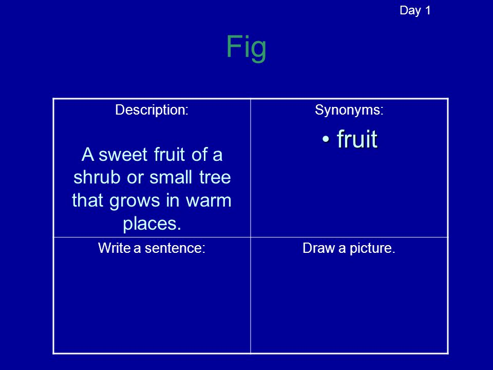 Fig Description: A sweet fruit of a shrub or small tree that grows in warm places.
