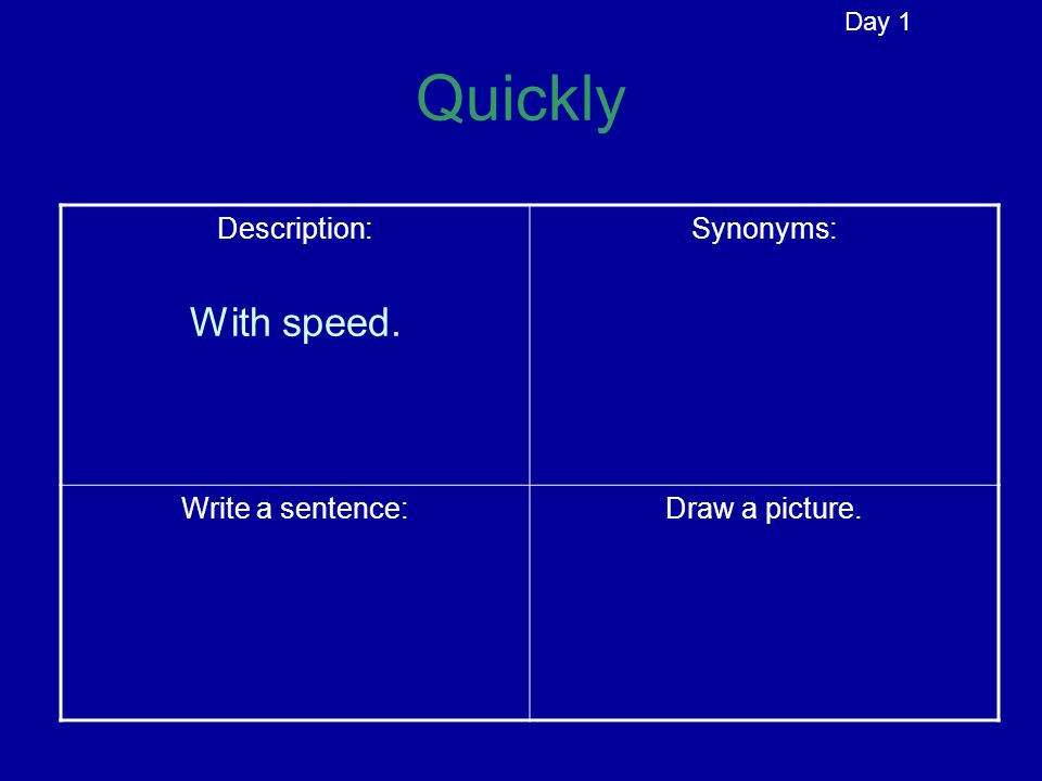 Quickly Description:Synonyms: Write a sentence:Draw a picture. Day 1