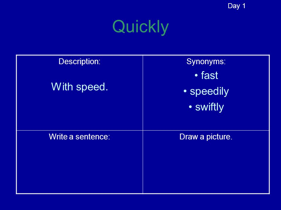 Quickly Description: With speed. Synonyms: Write a sentence:Draw a picture. Day 1