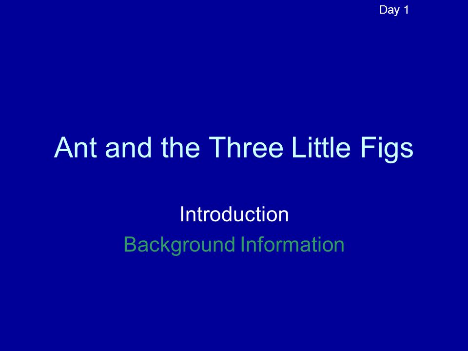 Ant and the Three Little Figs Introduction Background Information Day 1