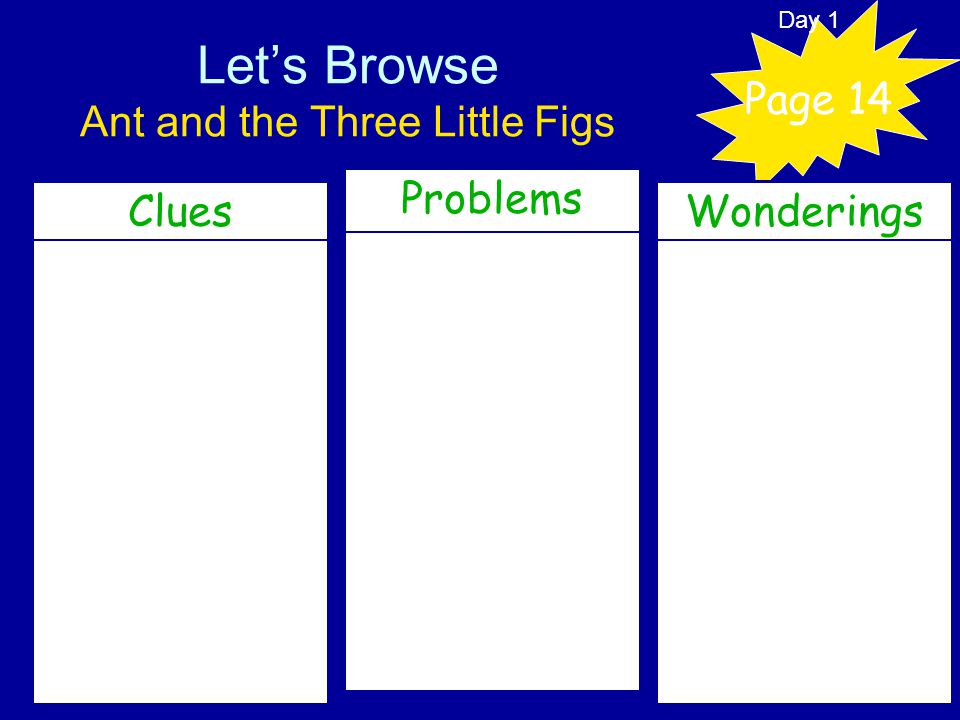 Let's Browse Ant and the Three Little Figs Clues Page 14 Problems Wonderings Day 1