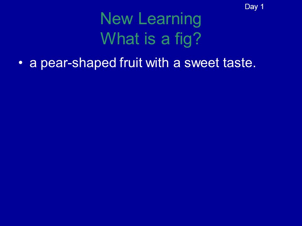 New Learning What is a fig? a pear-shaped fruit with a sweet taste. Day 1