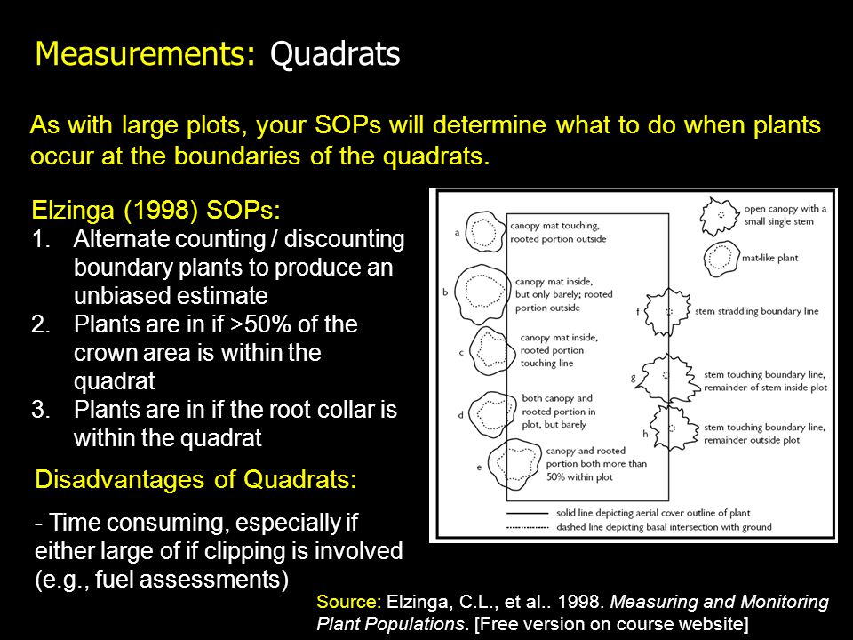 Measurements: Quadrats As with large plots, your SOPs will determine what to do when plants occur at the boundaries of the quadrats. Elzinga (1998) SO