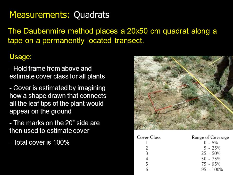The Daubenmire method places a 20x50 cm quadrat along a tape on a permanently located transect.