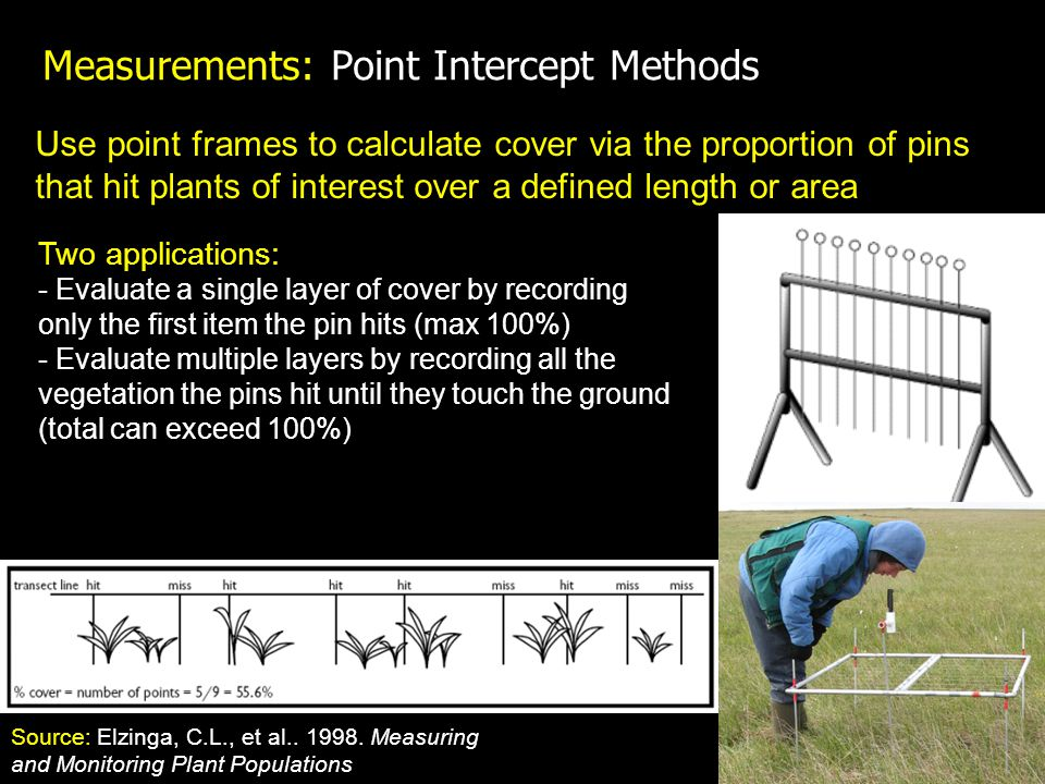 Measurements: Point Intercept Methods Use point frames to calculate cover via the proportion of pins that hit plants of interest over a defined length or area Two applications: - Evaluate a single layer of cover by recording only the first item the pin hits (max 100%) - Evaluate multiple layers by recording all the vegetation the pins hit until they touch the ground (total can exceed 100%) Source: Elzinga, C.L., et al..