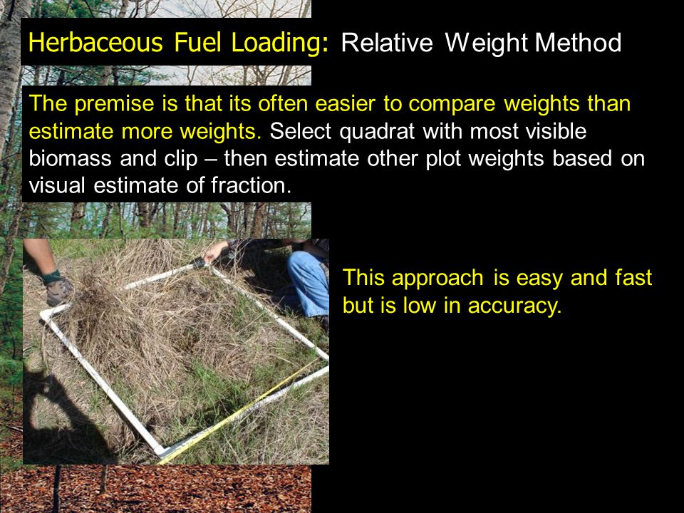 Herbaceous Fuel Loading: Relative Weight Method The premise is that its often easier to compare weights than estimate more weights. Select quadrat wit
