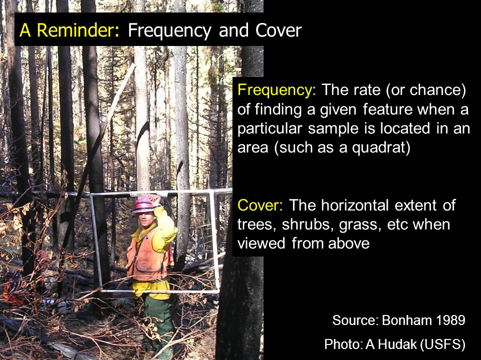 A Reminder: Frequency and Cover Frequency: The rate (or chance) of finding a given feature when a particular sample is located in an area (such as a quadrat) Cover: The horizontal extent of trees, shrubs, grass, etc when viewed from above Source: Bonham 1989 Photo: A Hudak (USFS)