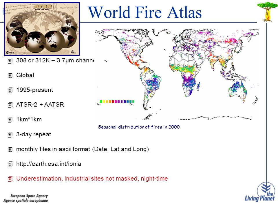 World Fire Atlas 4308 or 312K – 3.7μm channel 4Global 41995-present 4ATSR-2 + AATSR 41km*1km 43-day repeat 4monthly files in ascii format (Date, Lat and Long) 4http://earth.esa.int/ionia 4Underestimation, industrial sites not masked, night-time Seasonal distribution of fires in 2000 Jan.Dec.