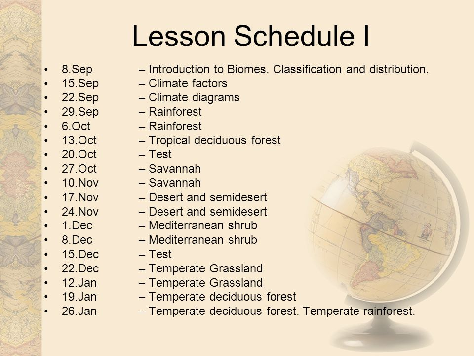 Lesson Schedule I 8.Sep – Introduction to Biomes.Classification and distribution.
