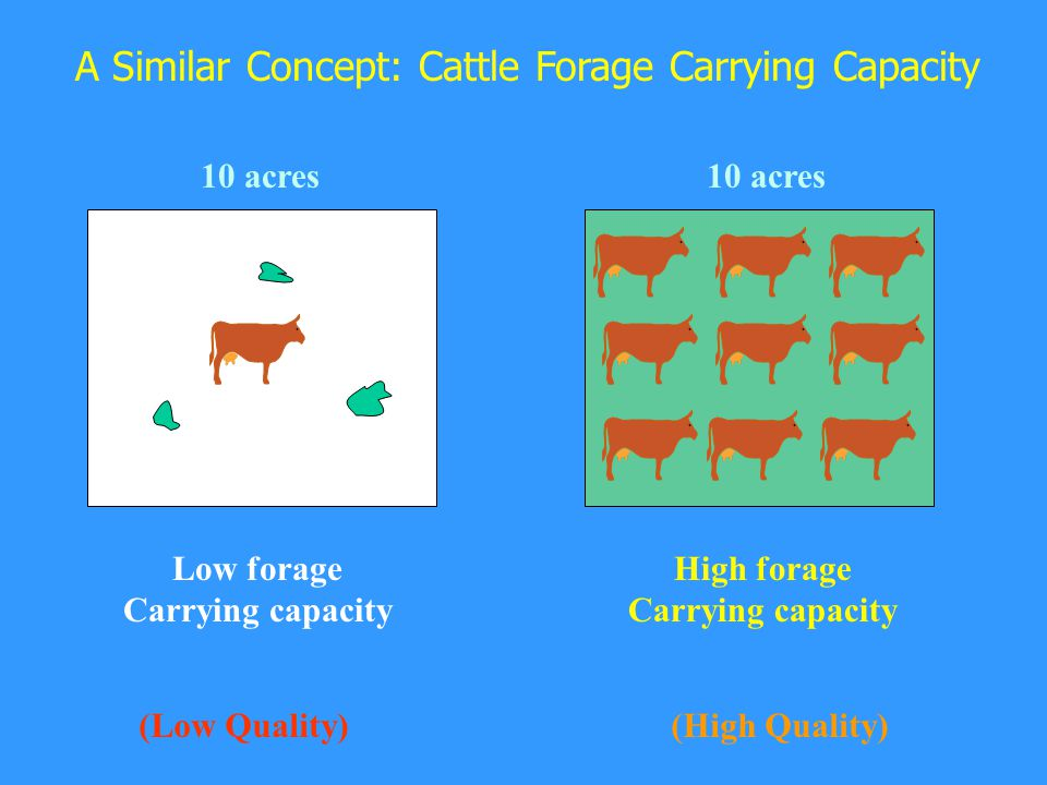 A Similar Concept: Cattle Forage Carrying Capacity Low forage Carrying capacity 10 acres High forage Carrying capacity 10 acres (Low Quality)(High Quality)