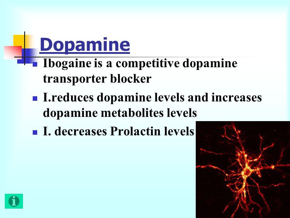 Ibogaine is a competitive dopamine transporter blocker I.reduces dopamine levels and increases dopamine metabolites levels I.