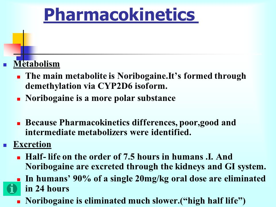 Pharmacokinetics Metabolism The main metabolite is Noribogaine.It's formed through demethylation via CYP2D6 isoform.