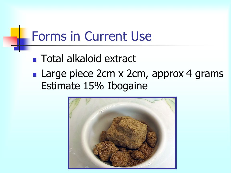 Forms in Current Use Total alkaloid extract Large piece 2cm x 2cm, approx 4 grams Estimate 15% Ibogaine