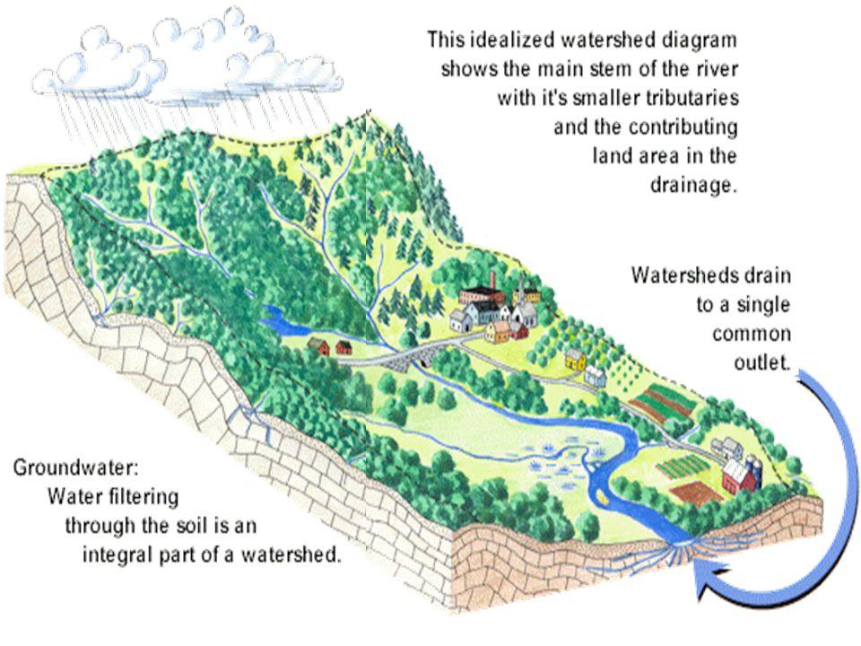 P= precipitation (Vol /DA) /t R=runoff Vol/t P x DA = R Units L/t Units L/t * L 2 =L 3 /t A Watershed is like a semi-funnel