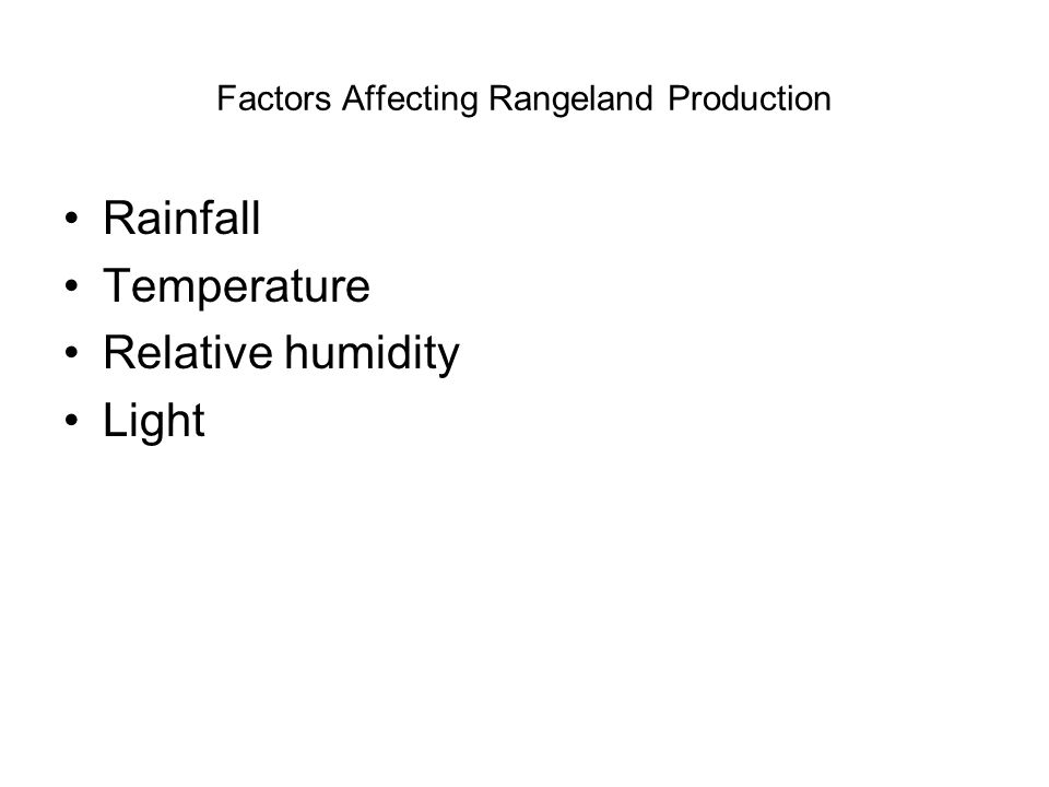 Factors Affecting Rangeland Production Rainfall Temperature Relative humidity Light