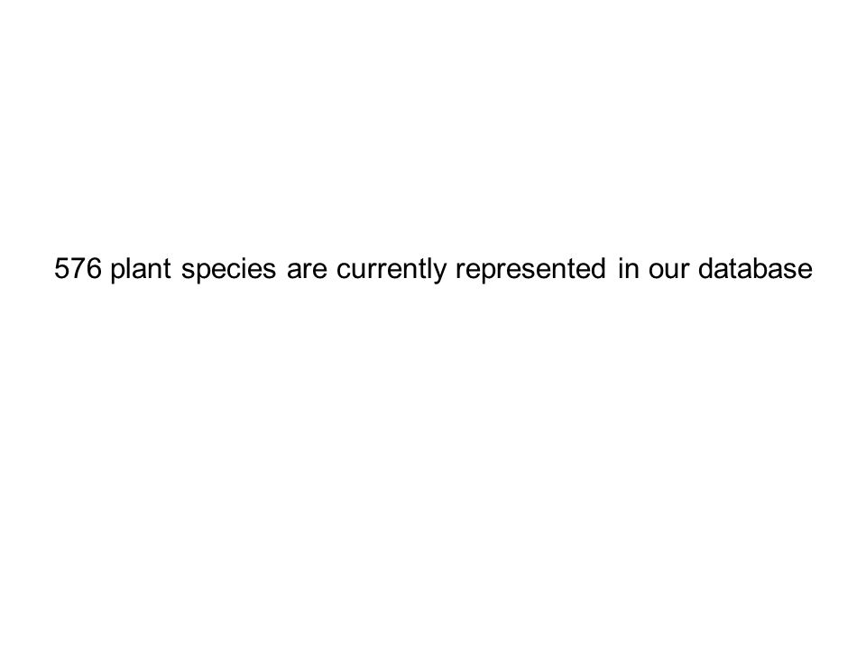 576 plant species are currently represented in our database