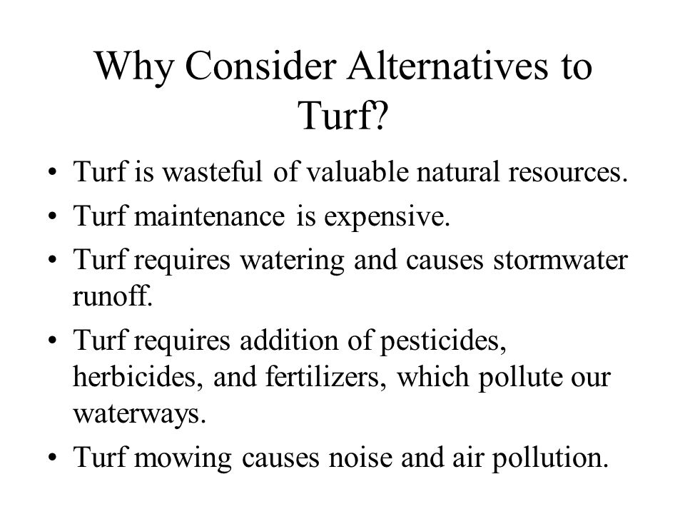 Why Consider Alternatives to Turf. Turf is wasteful of valuable natural resources.