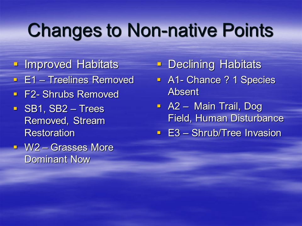 Changes to Non-native Points  Improved Habitats  E1 – Treelines Removed  F2- Shrubs Removed  SB1, SB2 – Trees Removed, Stream Restoration  W2 – G