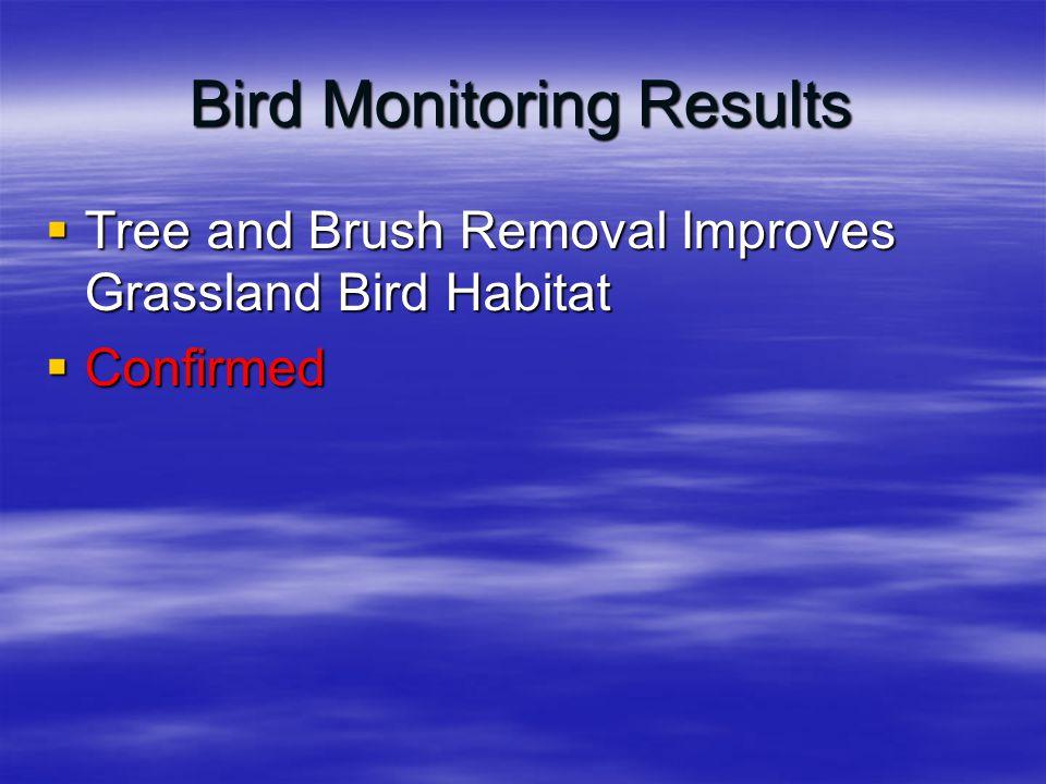 Bird Monitoring Results  Tree and Brush Removal Improves Grassland Bird Habitat  Confirmed