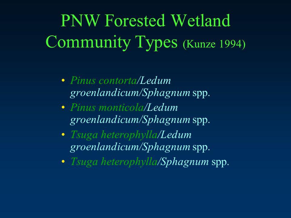PNW Forested Wetland Community Types (Kunze 1994) Pinus contorta/Ledum groenlandicum/Sphagnum spp.