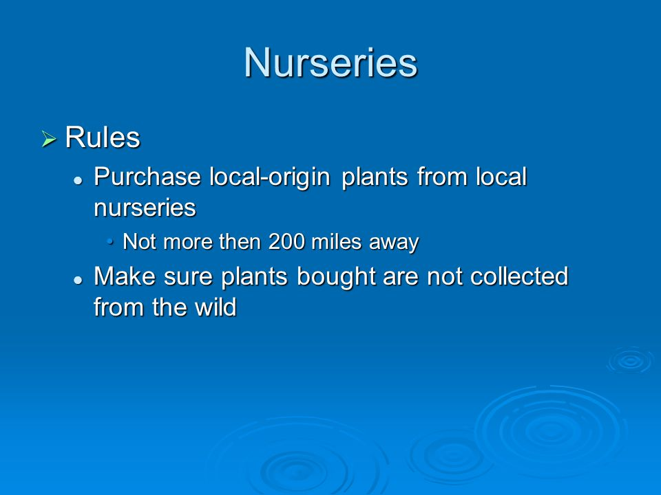 Nurseries  Rules Purchase local-origin plants from local nurseries Purchase local-origin plants from local nurseries Not more then 200 miles awayNot more then 200 miles away Make sure plants bought are not collected from the wild Make sure plants bought are not collected from the wild