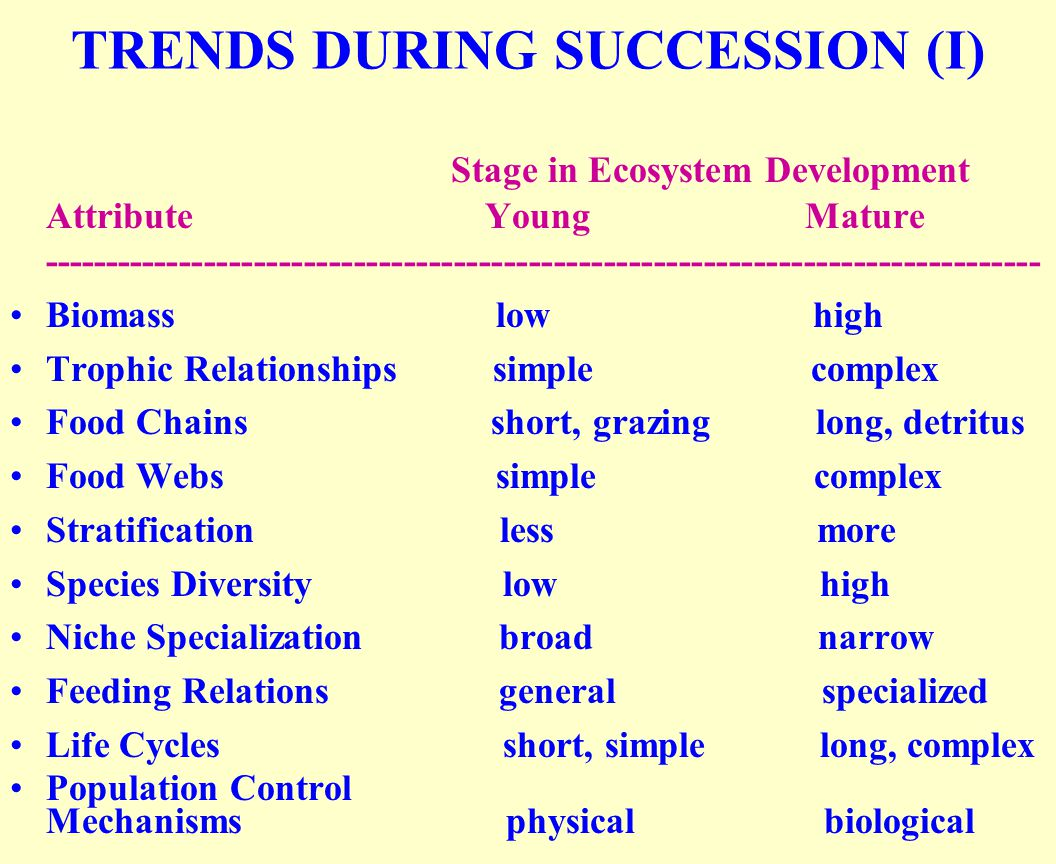 TRENDS DURING SUCCESSION (I) Stage in Ecosystem Development Attribute Young Mature -------------------------------------------------------------------