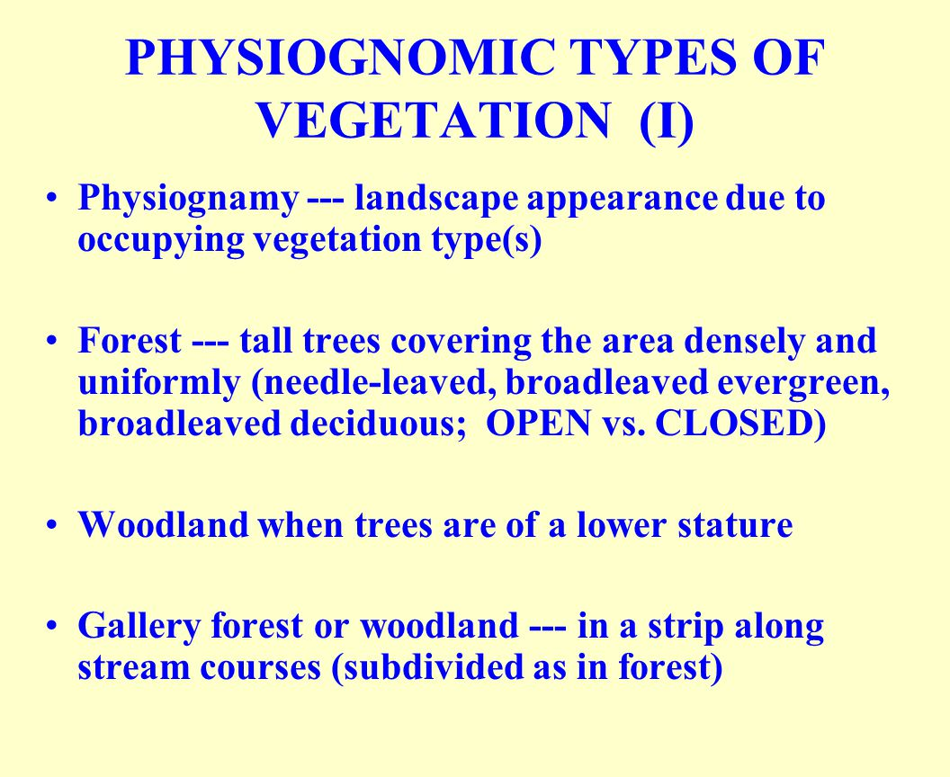 PHYSIOGNOMIC TYPES OF VEGETATION (I) Physiognamy --- landscape appearance due to occupying vegetation type(s) Forest --- tall trees covering the area