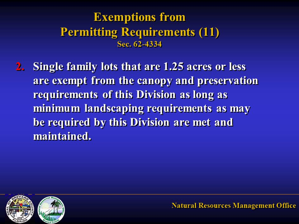 Natural Resources Management Office Exemptions from Permitting Requirements (11) Sec.