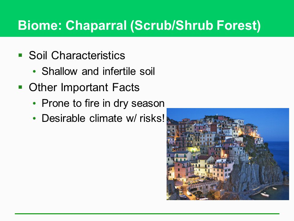Biome: Chaparral (Scrub/Shrub Forest)  Soil Characteristics Shallow and infertile soil  Other Important Facts Prone to fire in dry season Desirable