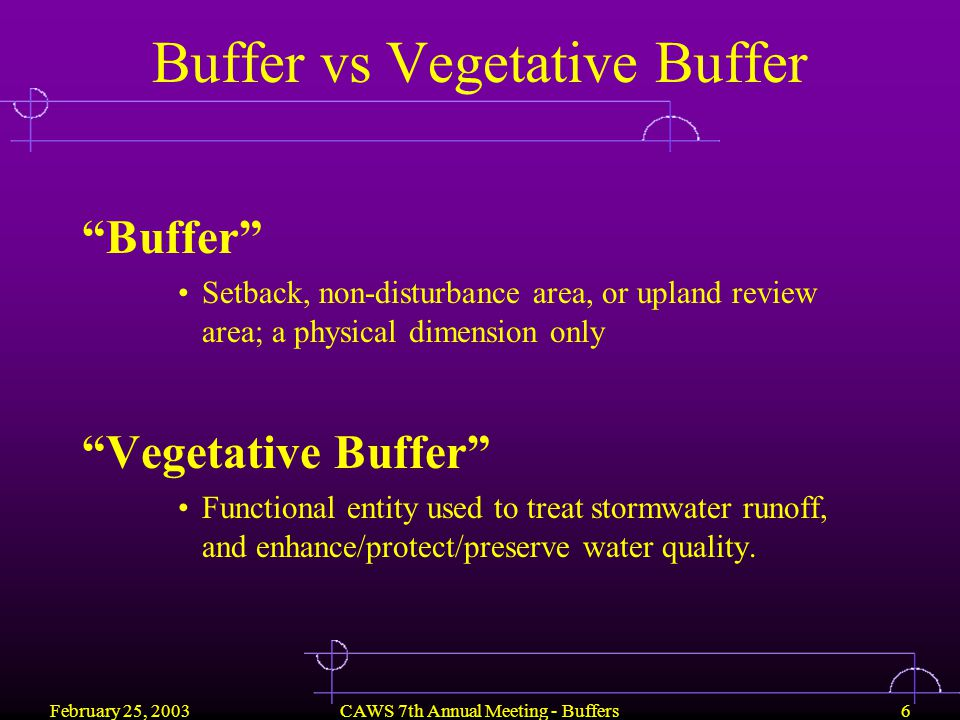 February 25, 2003CAWS 7th Annual Meeting - Buffers17 Vegetative Buffer Functions 1.