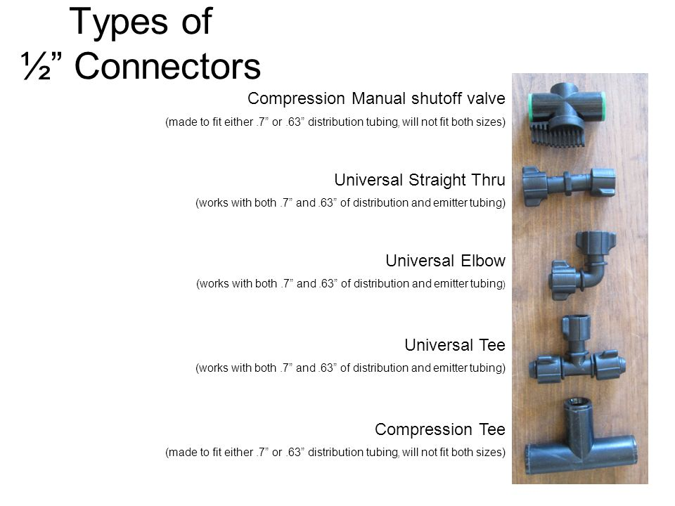 "Types of ½"" Connectors Compression Manual shutoff valve (made to fit either.7"" or.63"" distribution tubing, will not fit both sizes) Universal Straight"