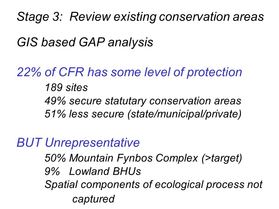 Stage 3: Review existing conservation areas GIS based GAP analysis 22% of CFR has some level of protection 189 sites 49% secure statutary conservation areas 51% less secure (state/municipal/private) BUT Unrepresentative 50% Mountain Fynbos Complex (>target) 9% Lowland BHUs Spatial components of ecological process not captured