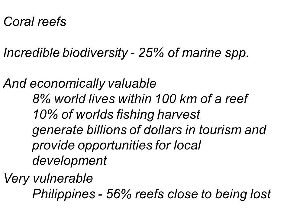 Coral reefs Incredible biodiversity - 25% of marine spp.