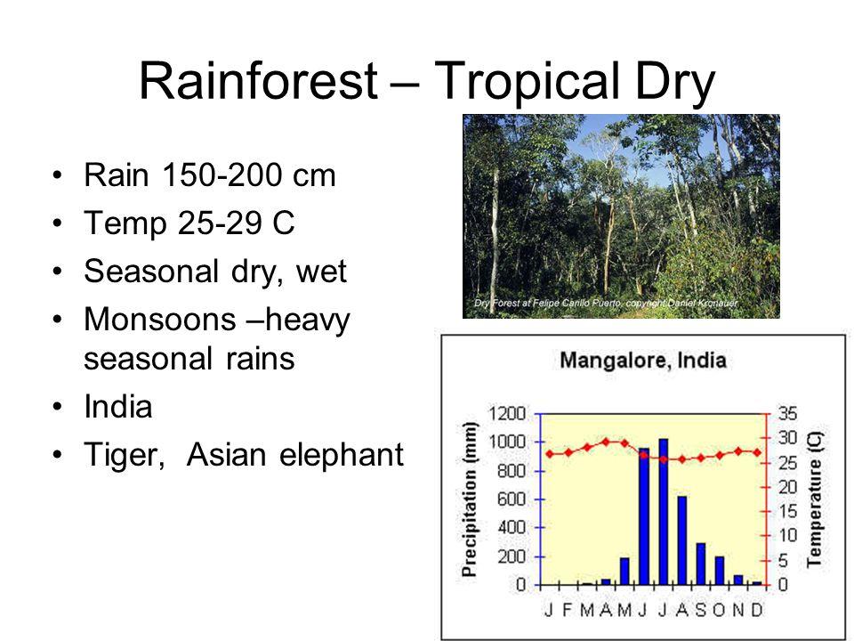 Rainforest – Tropical Dry Rain 150-200 cm Temp 25-29 C Seasonal dry, wet Monsoons –heavy seasonal rains India Tiger, Asian elephant