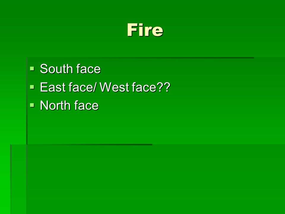 Fire  South face  East face/ West face  North face