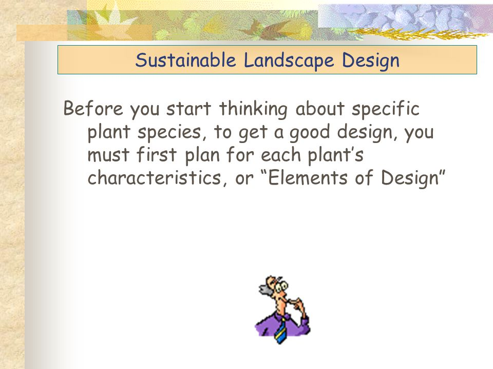 "Before you start thinking about specific plant species, to get a good design, you must first plan for each plant's characteristics, or ""Elements of De"