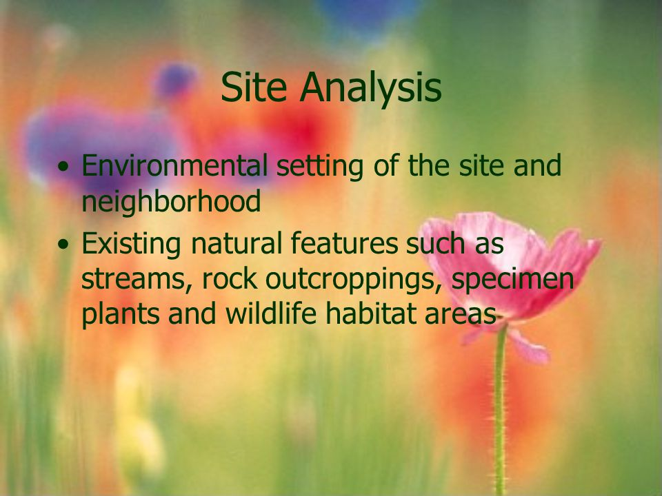 Site Analysis Environmental setting of the site and neighborhood Existing natural features such as streams, rock outcroppings, specimen plants and wil